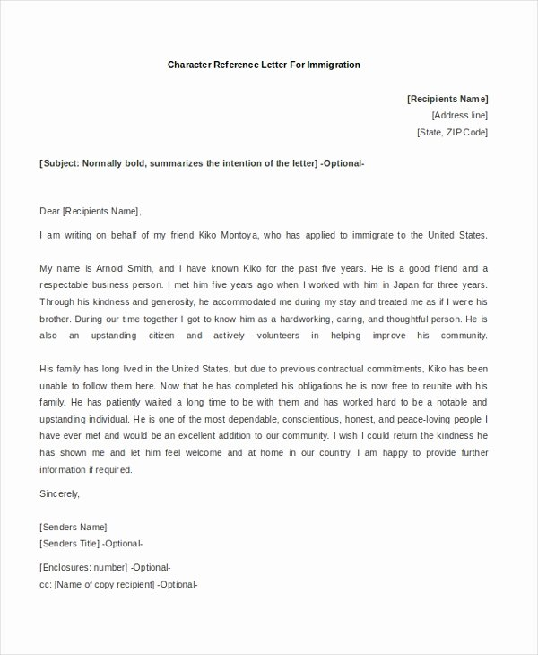 Character Reference Letter for Immigration Unique Free 8 Character Reference Letters In Word