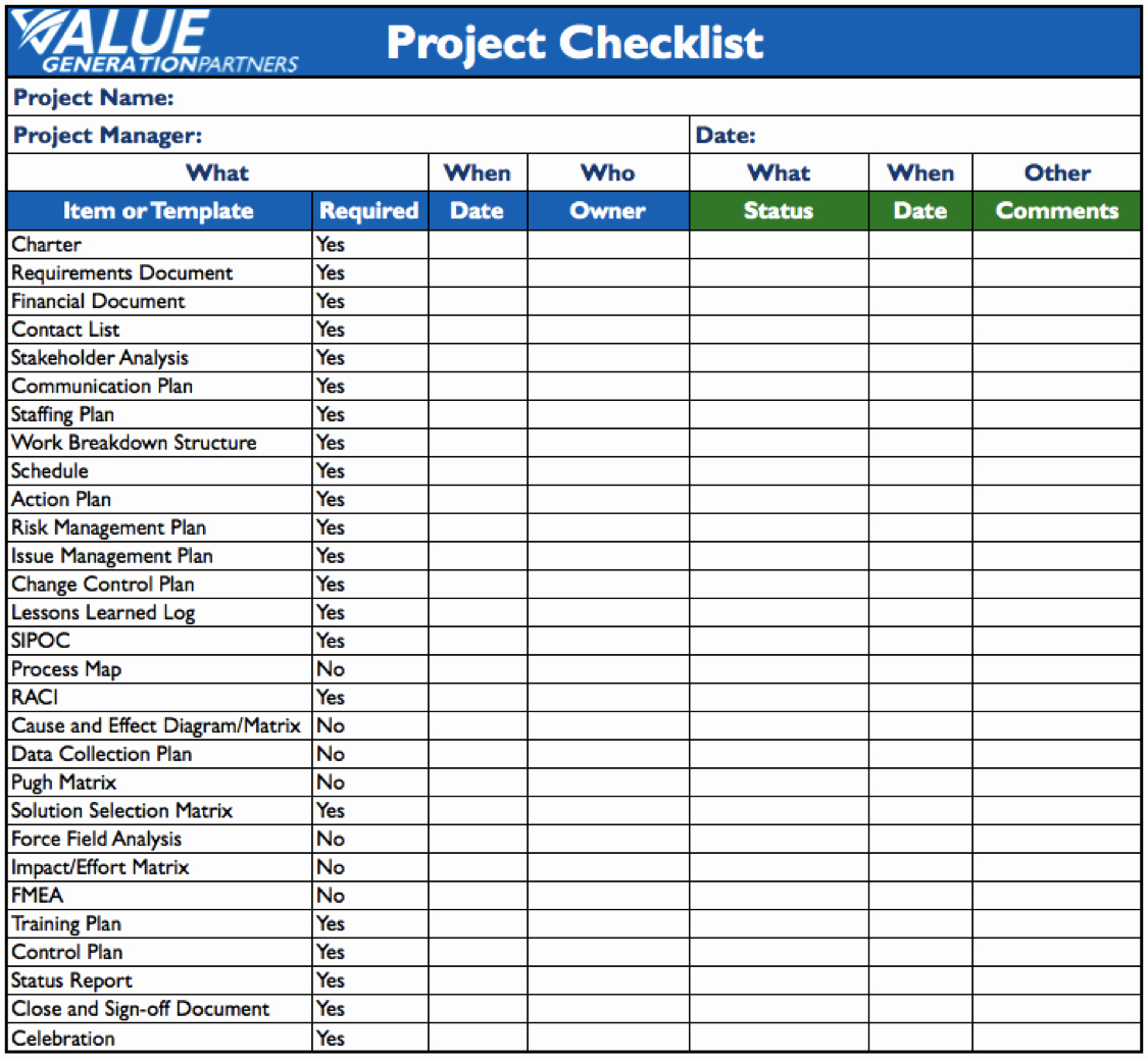 Check Template for Word Awesome Generating Value by Using A Project Checklist – Value