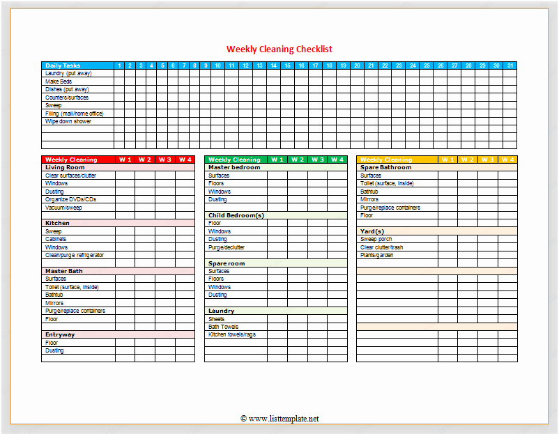 Check Template for Word Fresh Weekly Cleaning Checklist for Word List Templates