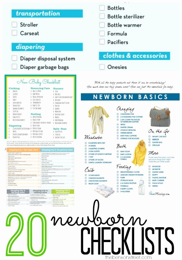Checklist for New Baby Best Of 20 Newborn Checklists the Benson Street