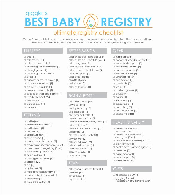 Checklist for New Baby Elegant Baby Registry Checklist