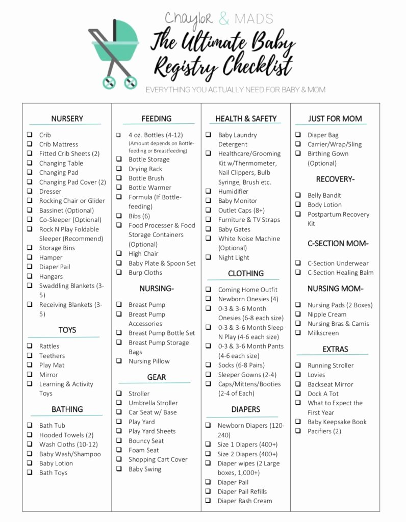 Checklist for New Baby Inspirational Your Ultimate Baby Registry Checklist Find Out the Items
