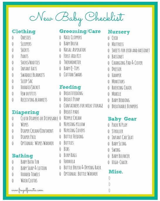 Checklist for New Baby Unique Baby Checklist Free Printable Frugal Fanatic