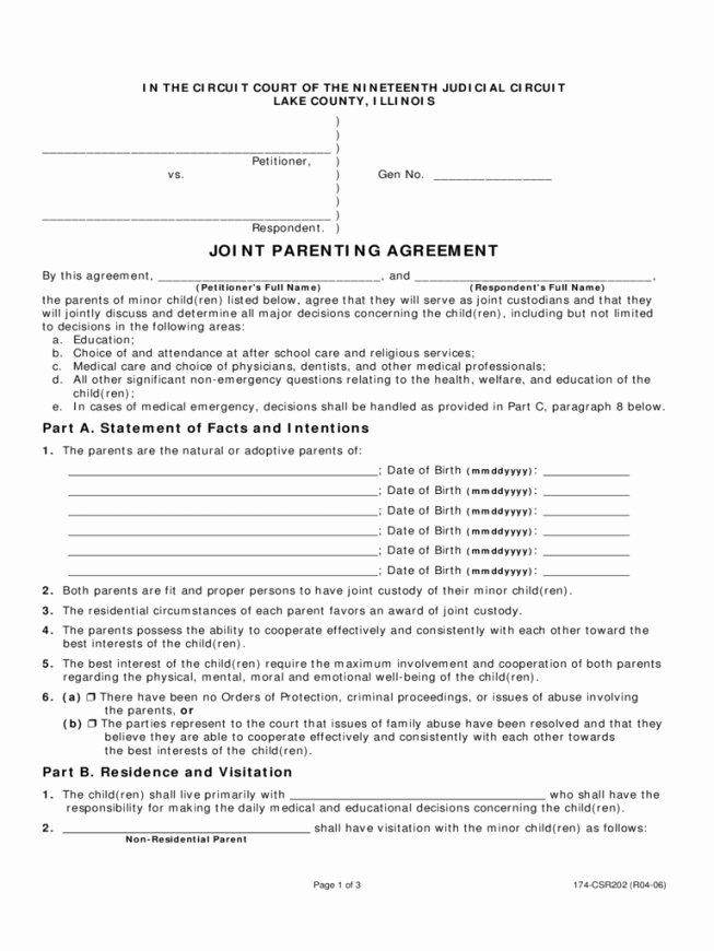 Child Custody Agreement Example Awesome 50 50 Custody Agreement Template