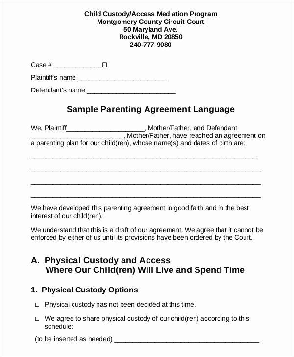 Child Custody Agreement Example Beautiful Parenting Agreement Templates 8 Free Pdf Documents
