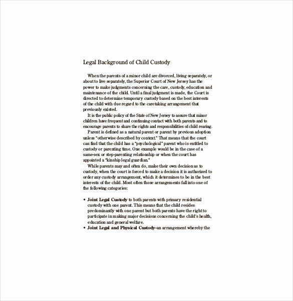 Child Custody Agreement Example Fresh Custody Agreement Template – 10 Free Word Pdf Document