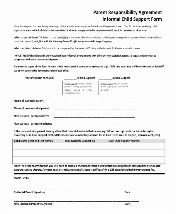 Child Custody Agreement Example Lovely 10 Child Support Agreement Templates Pdf Doc