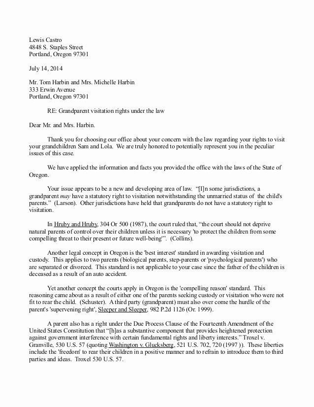 letter writing sample for grandparent custody possession visitation in oregon