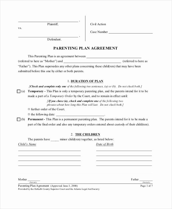 Child Custody Agreement Example New Parenting Agreement Templates 8 Free Pdf Documents