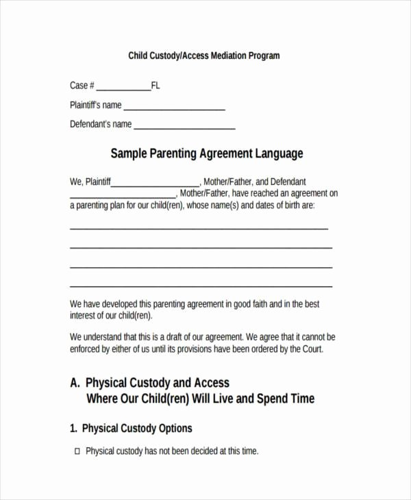 Child Custody Agreement Example Unique Free 8 Custody Agreement form Samples In Sample Example