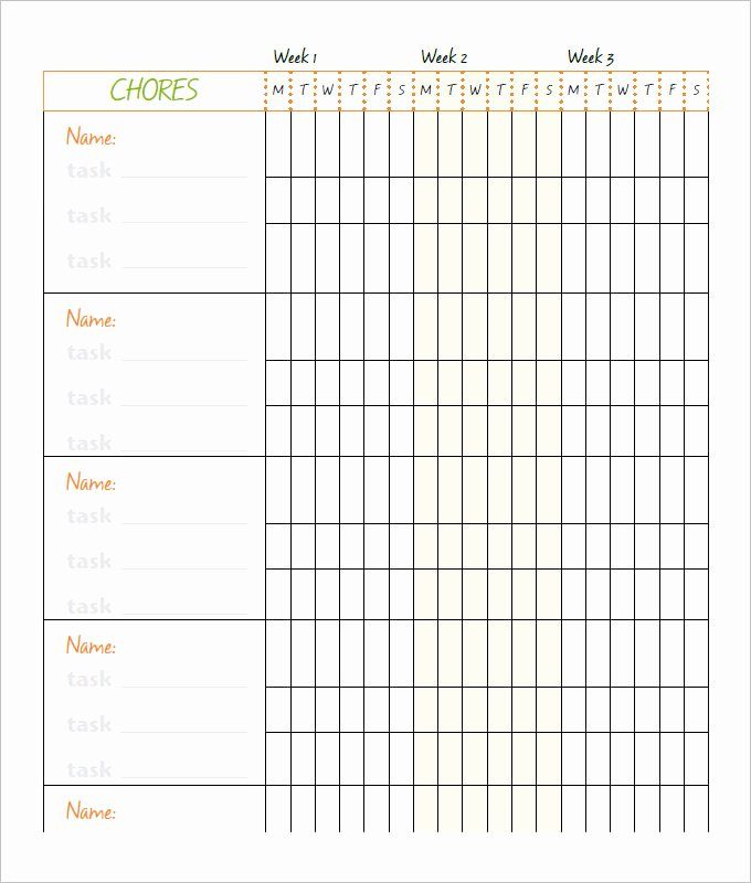 Children Chore Chart Template New Free 6 Chore Chart Template Printable for Kids Excel Word