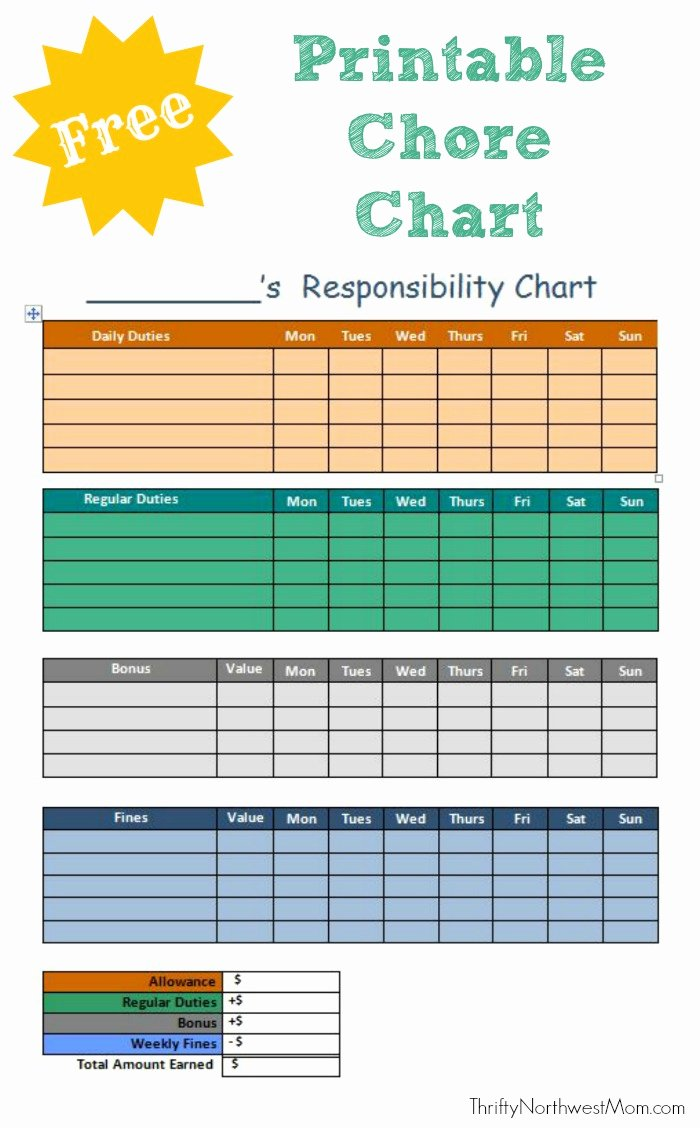 Children Chore Chart Template Unique Free Printable Chore Chart for Kids