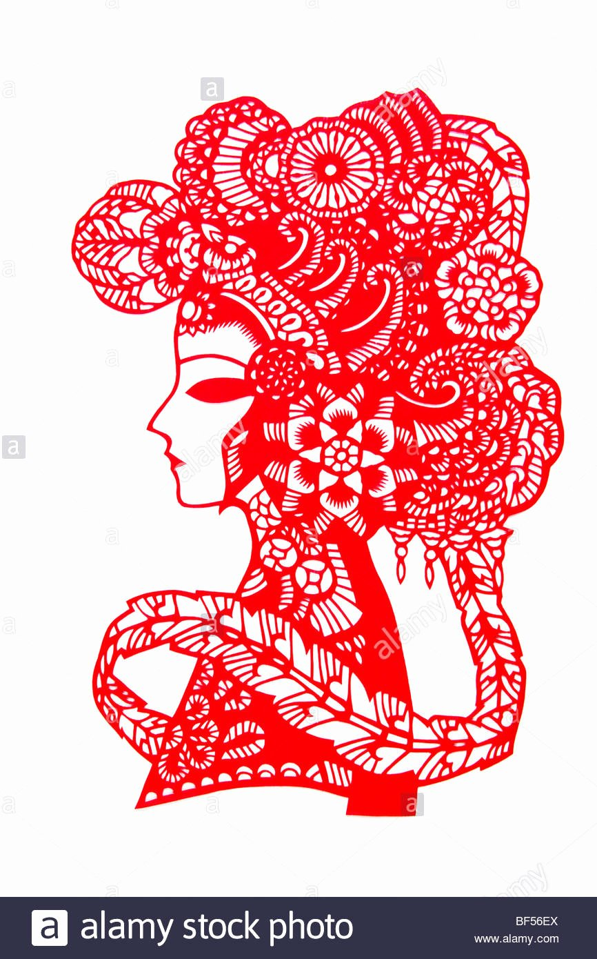 Chinese Paper Cutting Templates New Chinese Paper Cutting Art with Peking Opera Facial Pattern