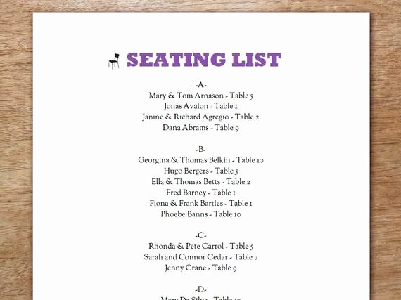 Choir Seating Chart Template Best Of Printable Seating List Wedding Seating List Template Pdf