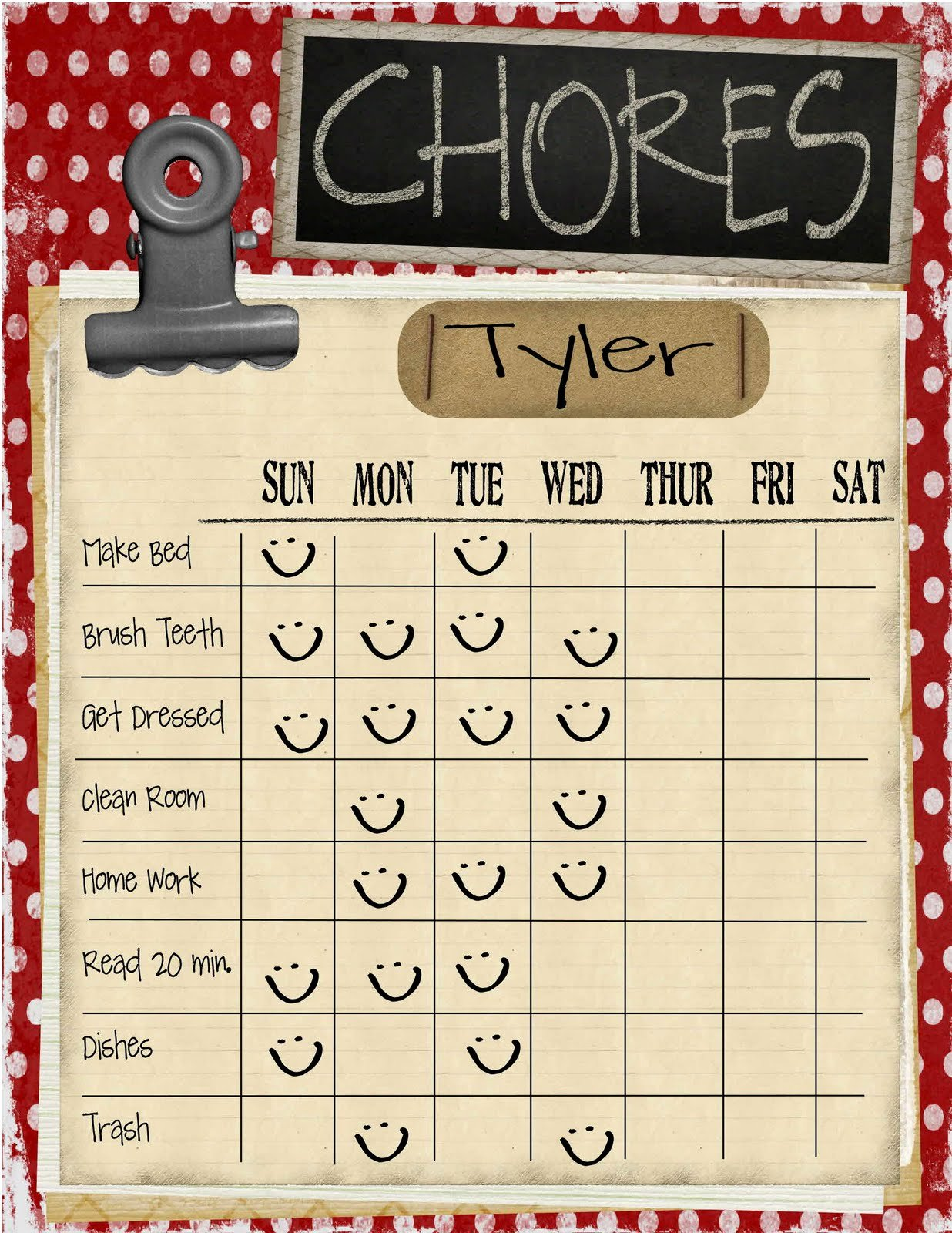 Chore Calendar for Family Fresh May 2013