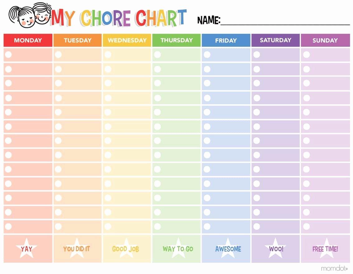 Chore Calendar for Family Inspirational Free Printable Chore Chart Momdot