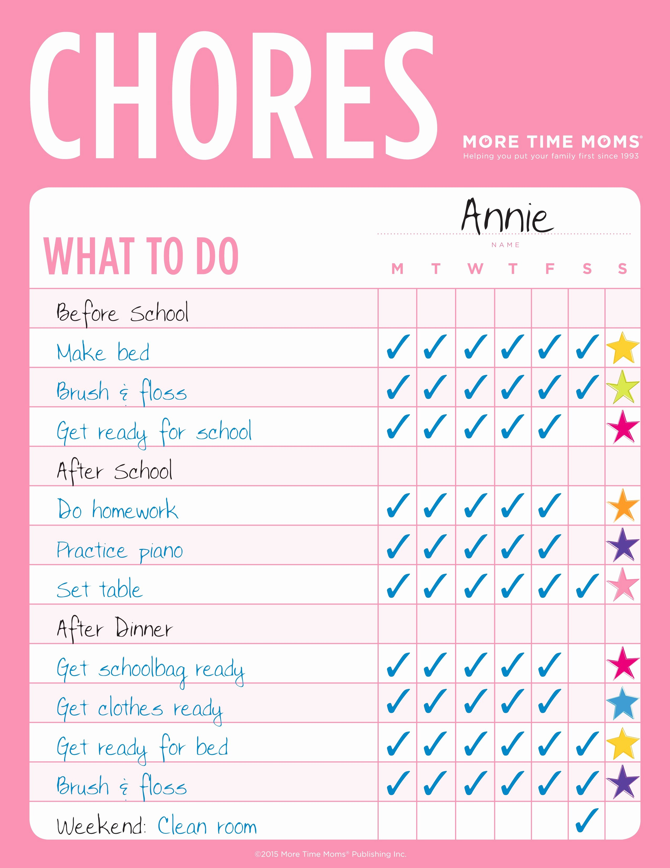 Chore Calendar for Family Luxury Chore Charts