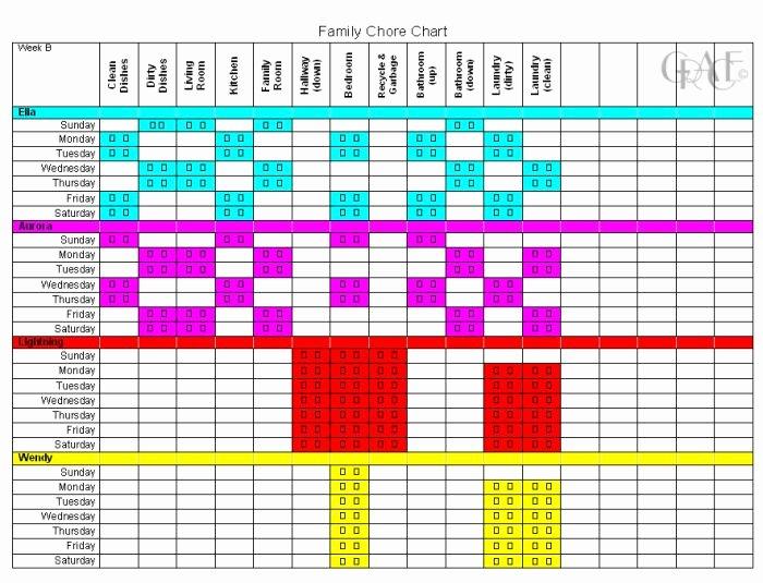 Chore Calendar for Family Luxury Family Chore Chart Chore Chart
