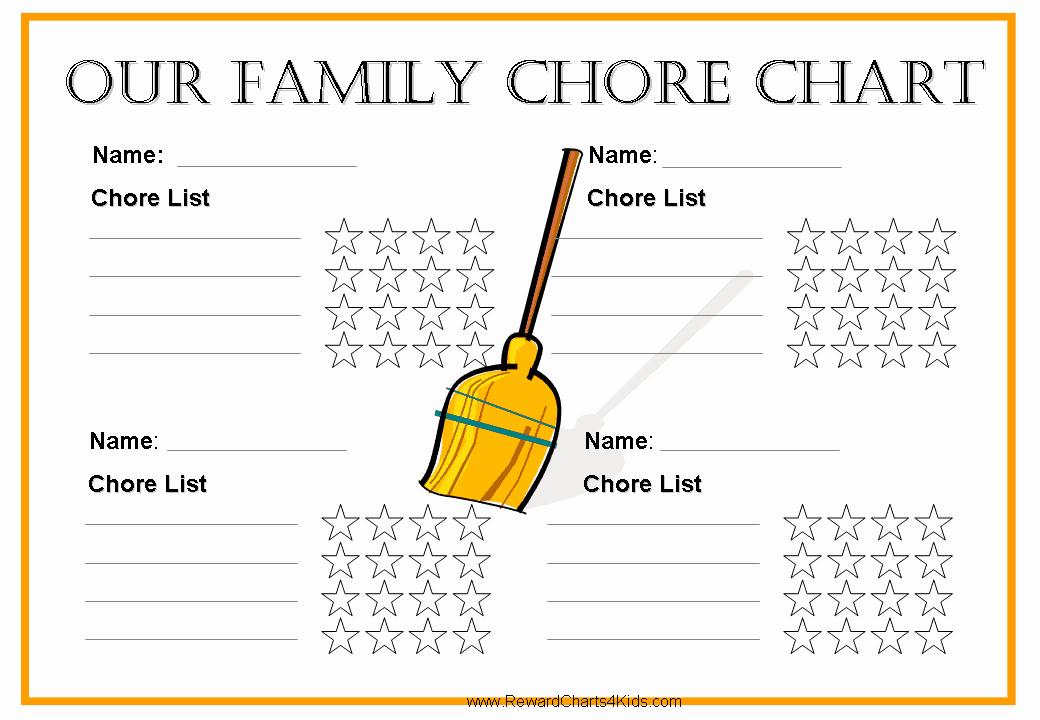 Chore Calendar for Family New Free Family Chore Chart