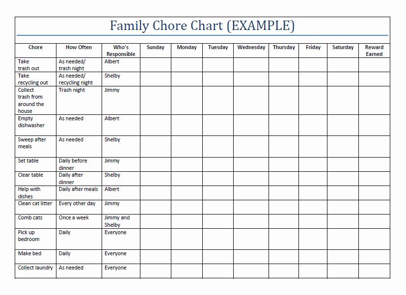 Chore Chart for Family Fresh Household Chore