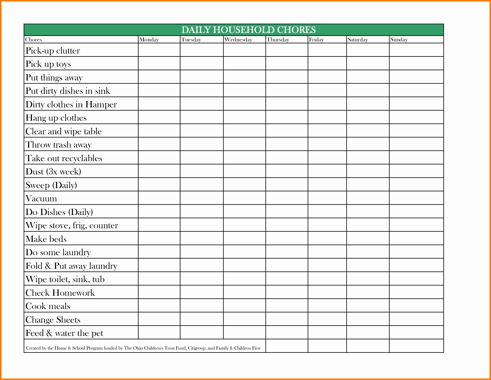 Chore Chart for Family Luxury Family Chore Chart Template