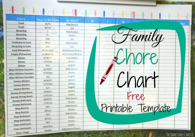 Chore Chart for Family New Family Chore Chart Printable