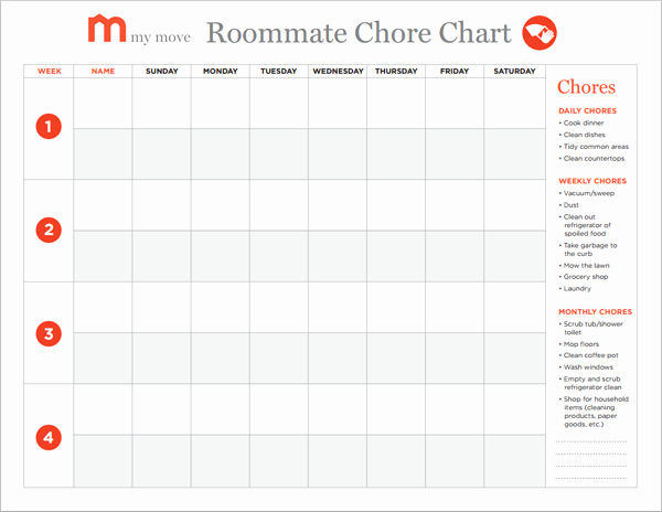 Chore Chart for Roommates Inspirational Creating A Roommate Chore Chart In 5 Easy Steps