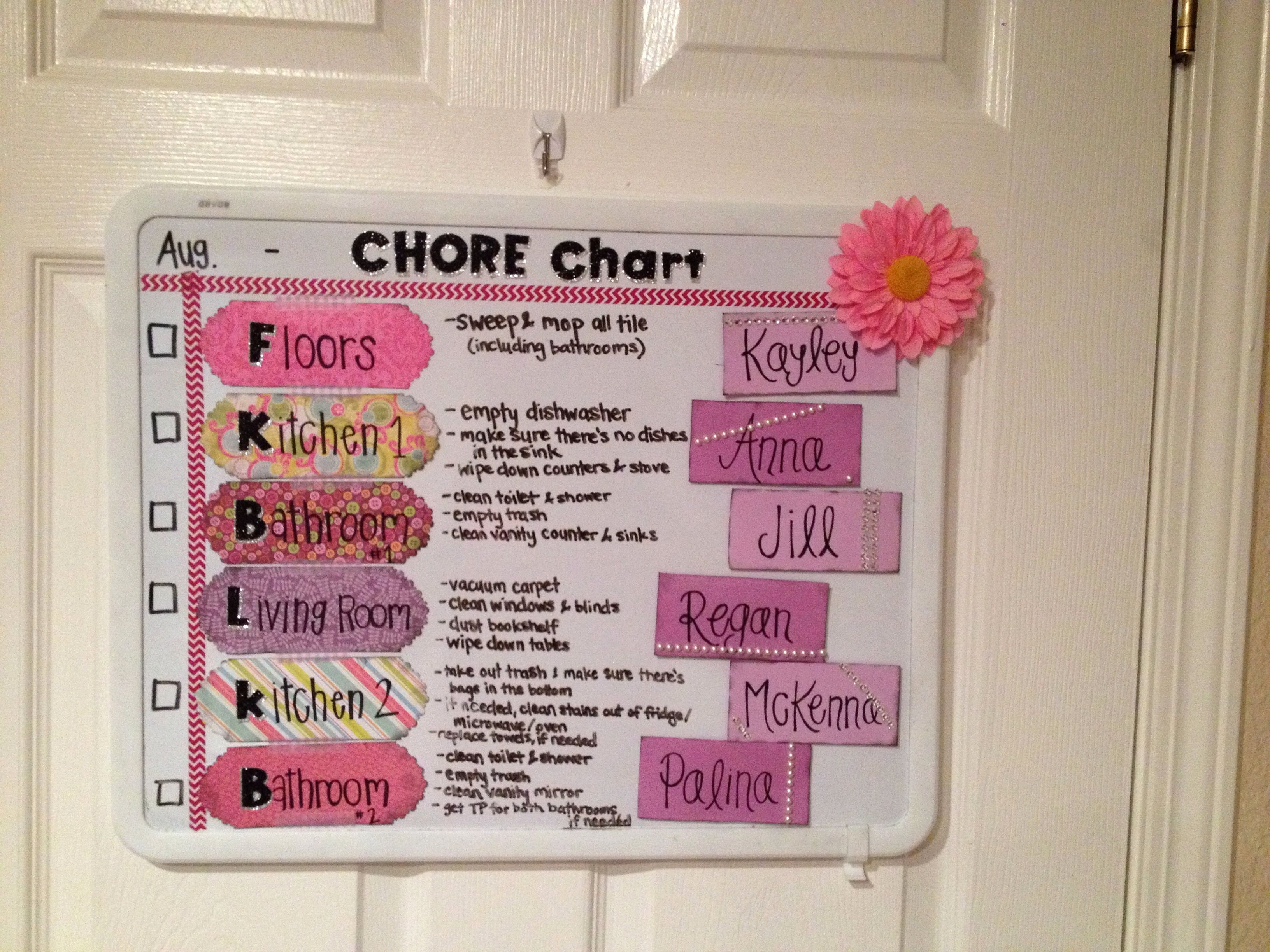 Chore Chart for Roommates New Chore Chart I Made for Me and My Roommates Super Easy