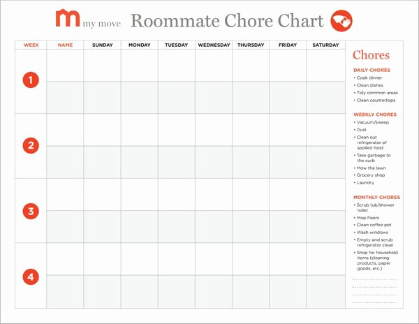 Chore Charts for Adults New Creating A Roommate Chore Chart In 5 Easy Steps