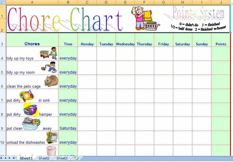 Chore Charts for Family Beautiful Family Daily Chore Chart Template Free