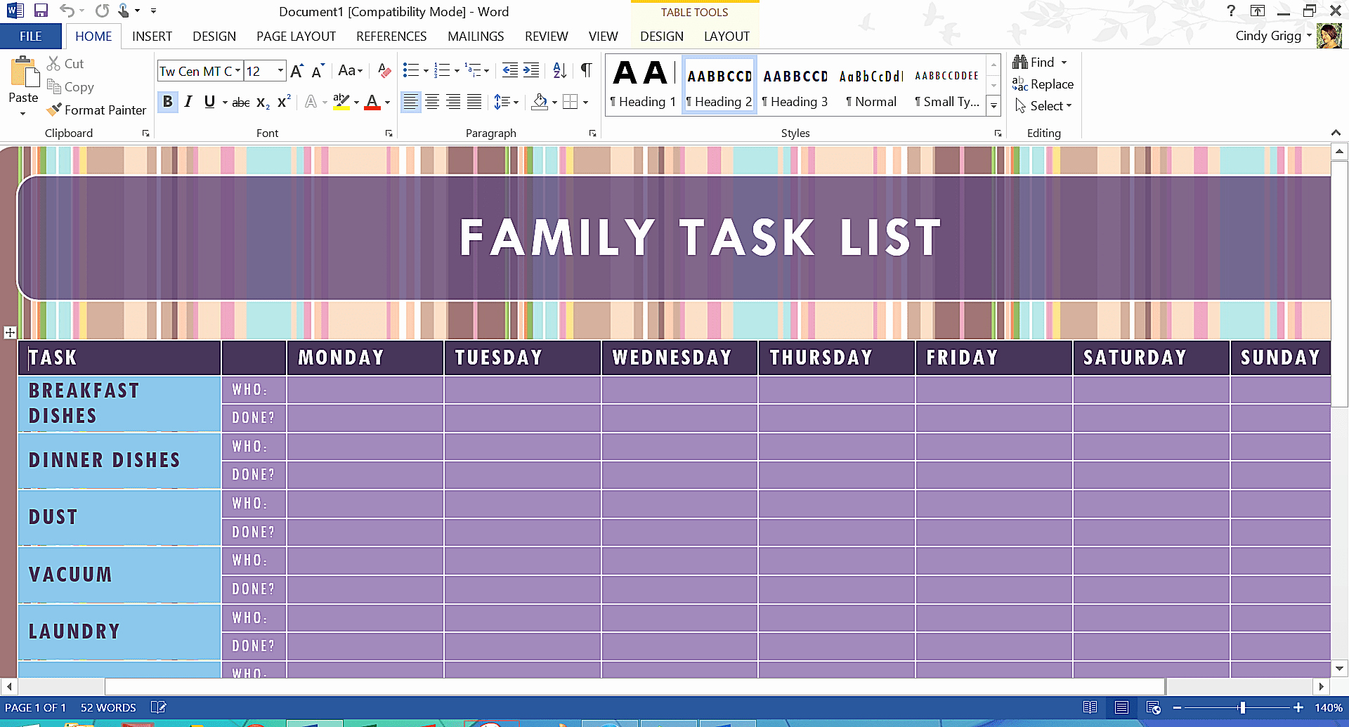 Chore Charts for Family Beautiful Free Microsoft Word Templates and Printables for Home