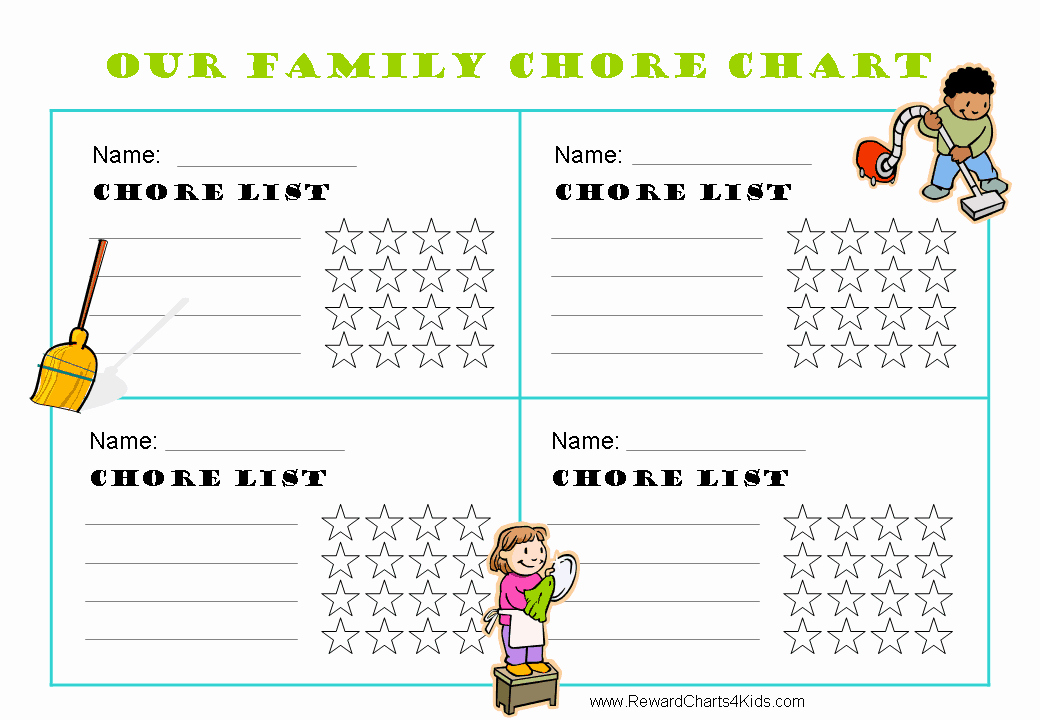 Chore Charts for Family Fresh Free Family Chore Chart