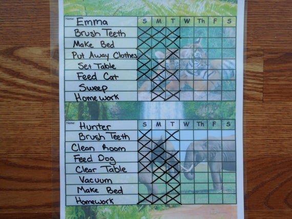 Chore Charts for Multiple Children Elegant Chore Charts for Multiple Kids Children Es Laminated