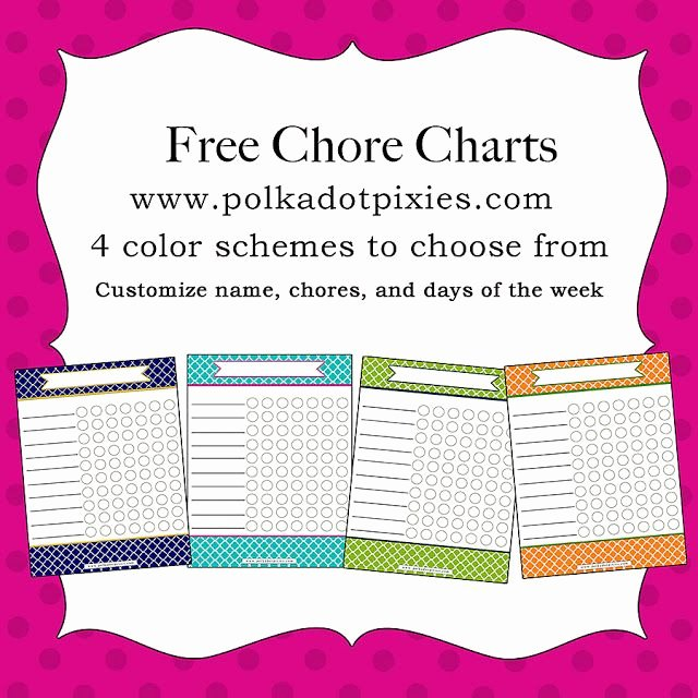 Chore List for Adults Beautiful Polka Dot Pixies Free Chore Chart