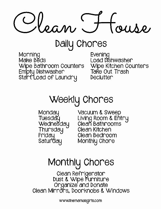 Chore Schedule for Family Beautiful Free Printable Chore Schedule