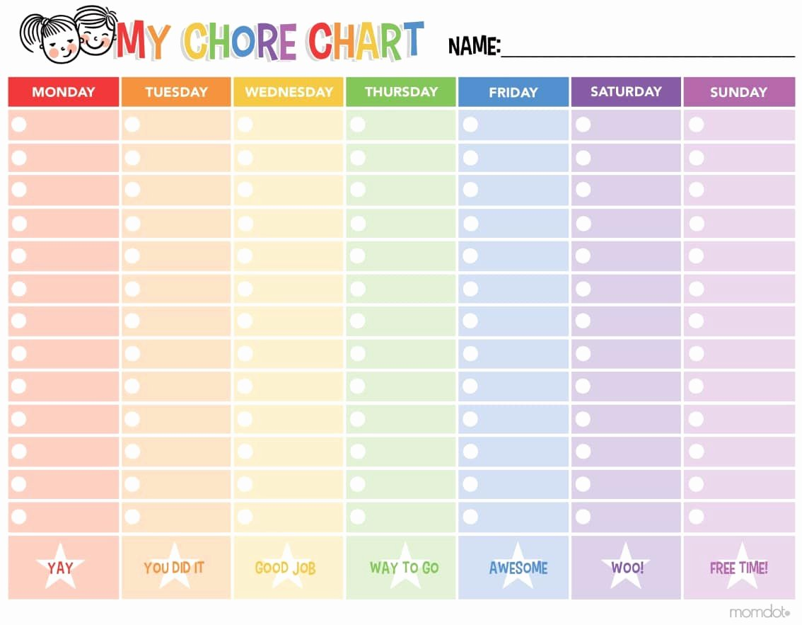 Chore Schedule for Family Fresh Free Printable Chore Chart