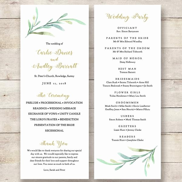 Christian Wedding Program Template Beautiful Greenery Wedding Program Template Greenery Wedding order