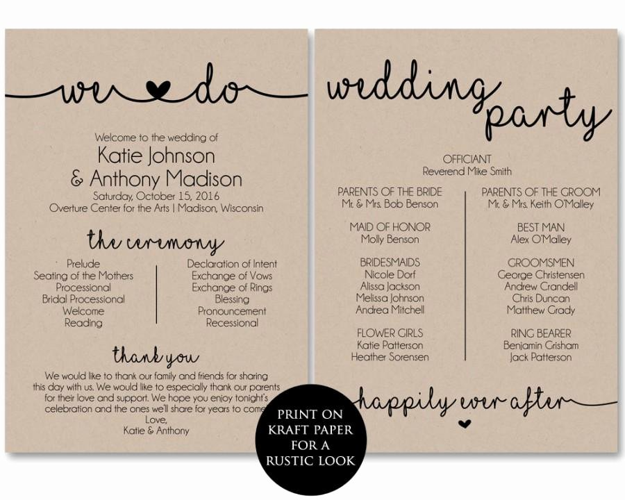 Christian Wedding Program Template Unique Ceremony Program Template Printable Wedding Programs