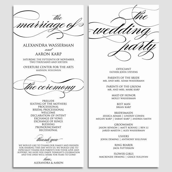 Christian Wedding Programs Templates Unique Wedding Program Template Wedding Program by Modernsoiree