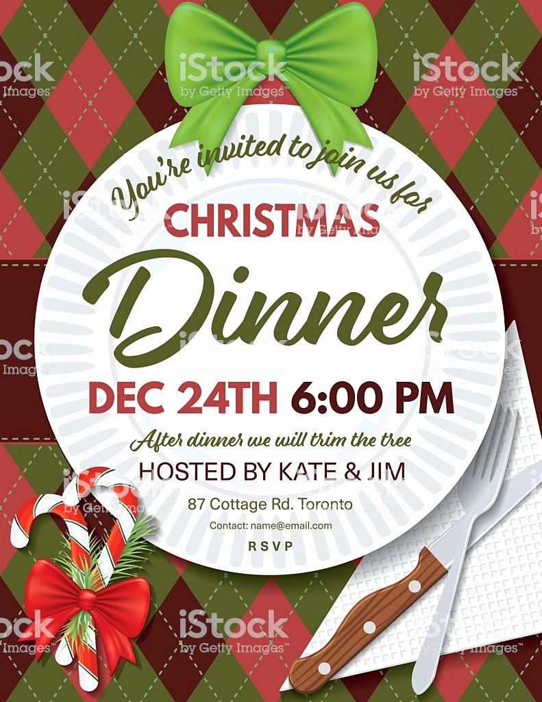 Christmas Dinner Invitation Template Free Elegant Argyle Tablecloth Christmas Dinner Invitation Template