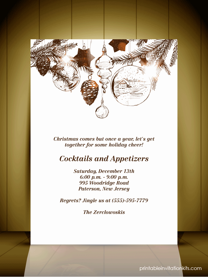 Christmas Dinner Invitation Template Free Elegant Vintage Style Christmas Party Invitation Card ← Wedding