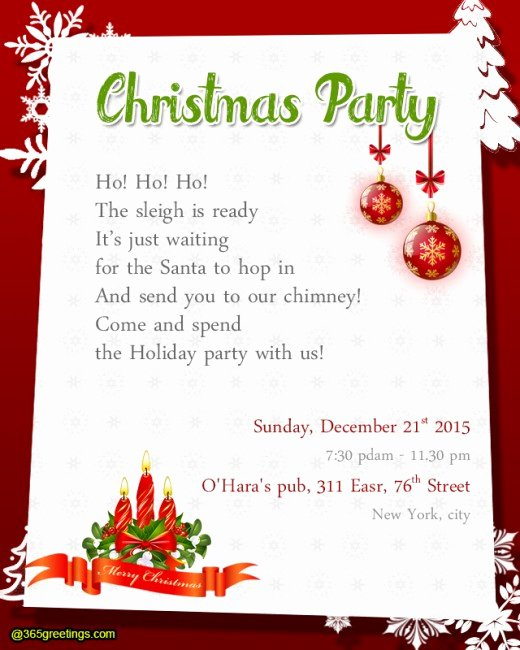 Christmas Dinner Invitation Template Free Fresh Christmas Party Invitation Wording 365greetings