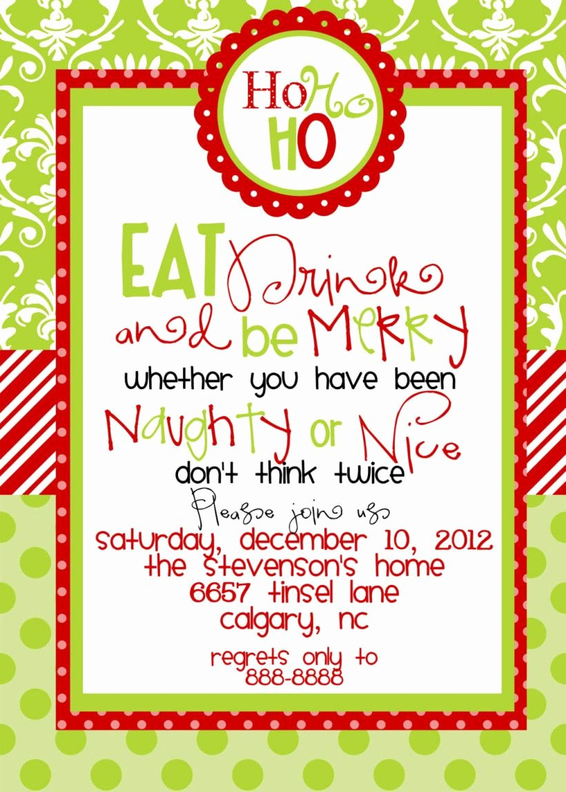 Christmas Dinner Invitation Template Free Luxury Funny Christmas Party Invitations Wording