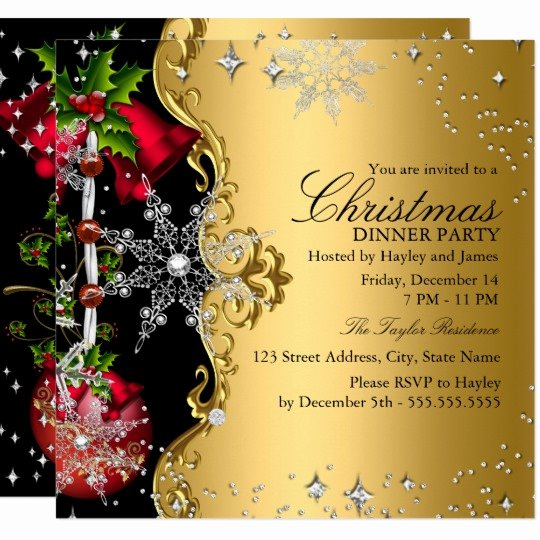 Christmas Dinner Invitation Template Free Luxury Red Green Gold Snowflake Christmas Dinner Party 3