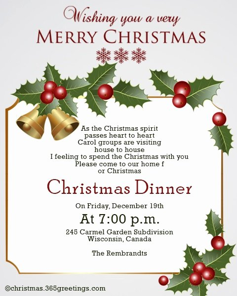 Christmas Dinner Invitation Template Free New Christmas Invitation Template and Wording Ideas