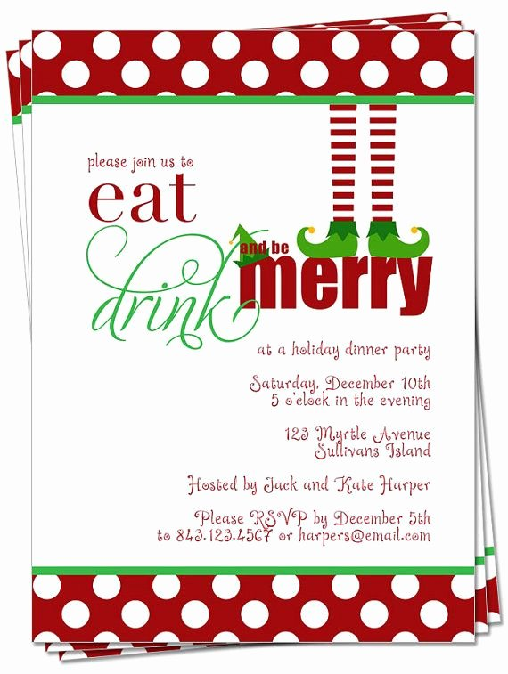 Christmas Dinner Invitation Template Free New Printable the original Christmas Elf Eat Drink and Be