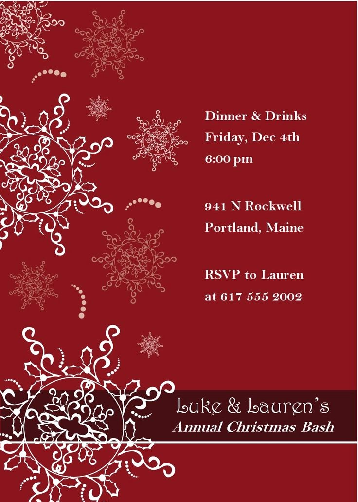 Christmas Dinner Invitation Template Free Unique 16 Best Images About Invitation Templates On Pinterest