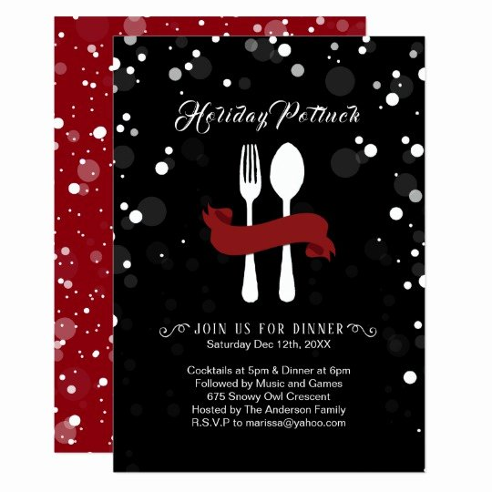 Christmas Potluck Invitation Wording Awesome Holiday Potluck Dinner Invitation
