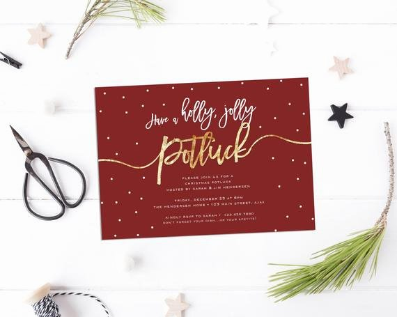 Christmas Potluck Invitation Wording Awesome Items Similar to Have A Holly Jolly Potluck Invite