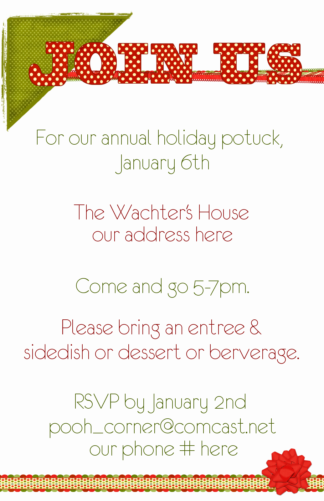 Christmas Potluck Invitation Wording Beautiful Potluck Dinner Invitations
